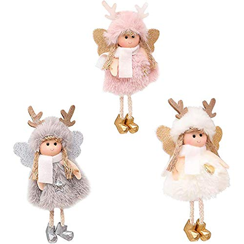 Chytaii 3 colgantes con muñeca de ángel de alce, árbol de Navidad, adornos navideños, adorno de elfos, manualidades, Navidad, ángel para fiestas de Navidad