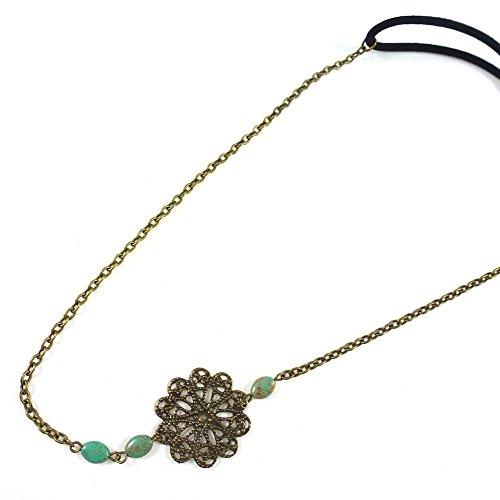 rougecaramel - Accessoires cheveux - Headband/bandeau/serre tête/bijou de tête motif filigrane - antique gold