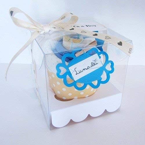 Idée cadeau originale pour bébé | Boîte élégante avec un cupcake fait de chaussettes (1-6 mois) et une couche DODOT | Idée cadeau de naissance | Cadeau pour le baptême | Ton bleu