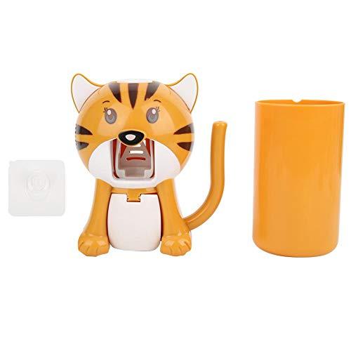 GOTOTOP Portaspazzolini per Bambini con Tazza, Simpatico Cartone Animato Dispenser di dentifricio a Mani libere per Bambini Kit di spremiagrumi Automatico per dentifricio a Parete(Giallo)