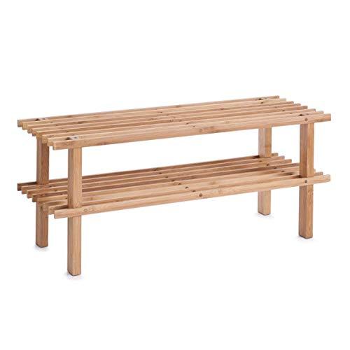 Zeller, 13578, schoenenrek met 2 planken, bamboe, 70 x 26 x 30