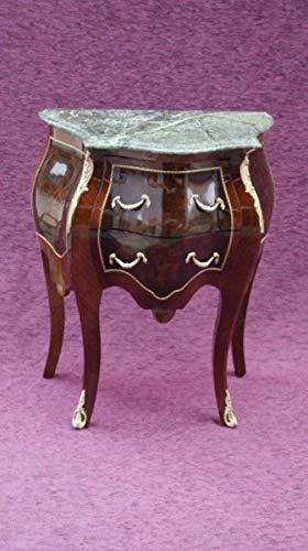 Casa Padrino Barock Kommode mit Marmorplatte Braun H 73 cm, B 59 cm - Modell Mahagoni - Nachttisch Kommode