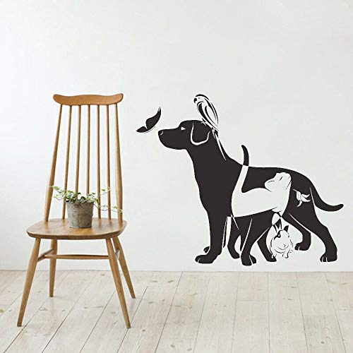 zhuzhuwen Glitter Stickers voor Wallkindergarten kamer decoratie muurschildering Vinyldog kat vogel konijn winkel dier dierenarts geluk 57X68Cm