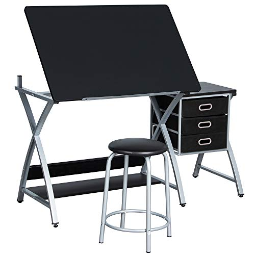 Yaheetech Adjustable/Folding Drafting/Drawing/Draft/Art/Craft Table/Desk with Stool and Storage...