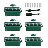 5 Stücke Zimmergewächshaus Anzuchtkasten,Mini Gewächshaus Anzucht Set,Kunststoff Anzuchtschalen mit Gartengeräte Klein Und Pflanzenetikett,12 Löchern, Ideale für Sämling Pflanze Aufzucht