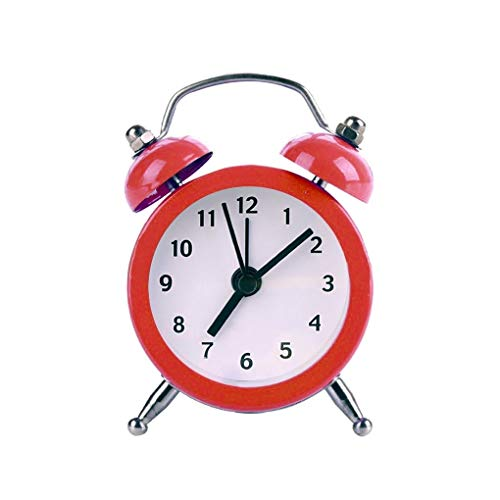 HoneyJuan Elektronische Wecker Sleep Timer Mini runde Weinlese Laute Glocke Wecker Desktop-Tisch Nacht Tinkerbell Wecker for Schlafzimmer Reisewecker Wake Up Wecker (Color : Red)