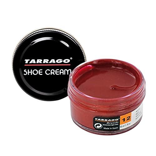 Tarrago | Schuhcreme 50 ml | Pflegende, glänzende und schützende Creme für Schuhe, Schuhe, Taschen und Accessoires aus Leder, Leder und Kunstleder (Rot 12)