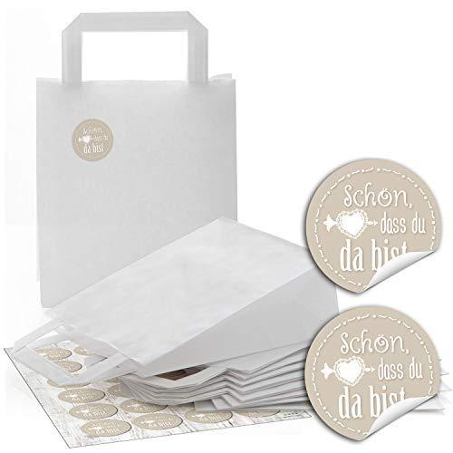 24 weiße Papiertüten Papier-Tragetaschen Henkel-Tüten Geschenktüten Boden 18 x 8 x 22 cm kleine Papiertaschen + 24 runde Aufkleber SCHÖN DASS DU DA BIST in beige Verpackung Geschenke