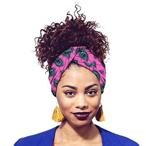 Deylaying Turbante Bufanda de Algodón Africano para Mujeres - Extra Largo 78.7