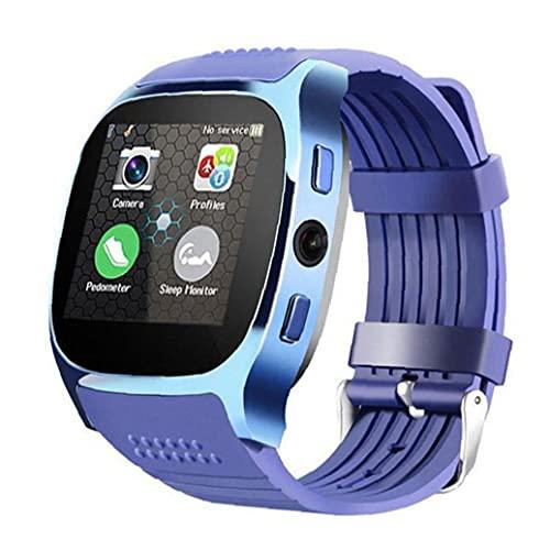Reloj Inteligente Sraeriot Con Cámara Bluetooth Inteligente Venda De La Ayuda De Sim Tf De La Tarjeta De Llamadas Deportes Podómetro Para El Teléfono Azul