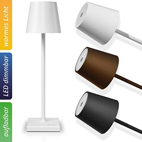 charlique® LED Tischlampe - stufenlos dimmbar, mit aufladbarem Akku - edle Design Tischleuchte in weiß mit USB Ladestecker - warmweiße Lichtwirkung, für innen und außen geeignet