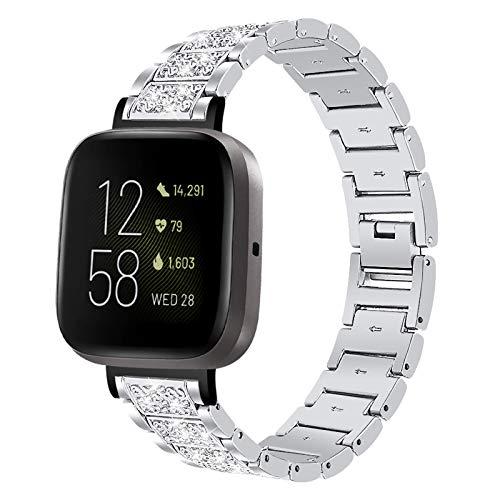 HGNZMD Correas para Mujer Compatibles con Fitbit Versa 3 / Sense, Correa De Repuesto para Reloj con Diamantes Imitación Band De Metal Strap De Acero Inoxidable Compatibles con Sense/Versa 3,Plata