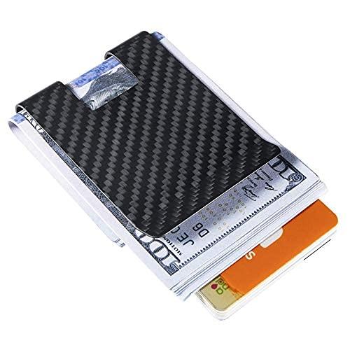 Cartera de bolsillo de fibra de carbono con bloqueo RFID delgada, soporte minimalista duradero y antiarañazos para tarjetas de crédito para..
