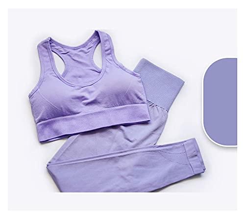 RXSHOUSH Trajes para Mujeres 2 Piezas Trajes de Yoga Deportes Sujetador Chaleco y Pantalones Conjunto inconsútil Gran Elasticidad chándalsuits Gimnasio Conjunto de Ropa Light Purple