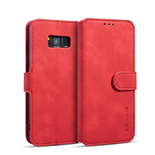 zanasta Echt Ledertasche kompatibel mit Huawei Y6 2019 Hülle Premium Leder Tasche mit Kartenfächern, Schutzhülle Rot