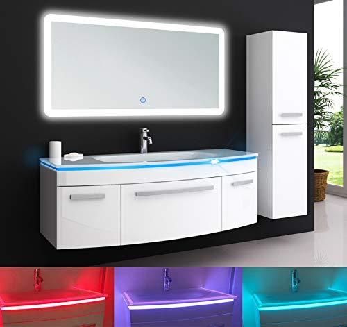 Oimex Jasmin 120 cm Badmöbel mit LED Spiegel + 1x Seitenschrank Hochglanz Weiß Badezimmer Set mit viel Stauraum LED Waschtisch Glaswaschbecken