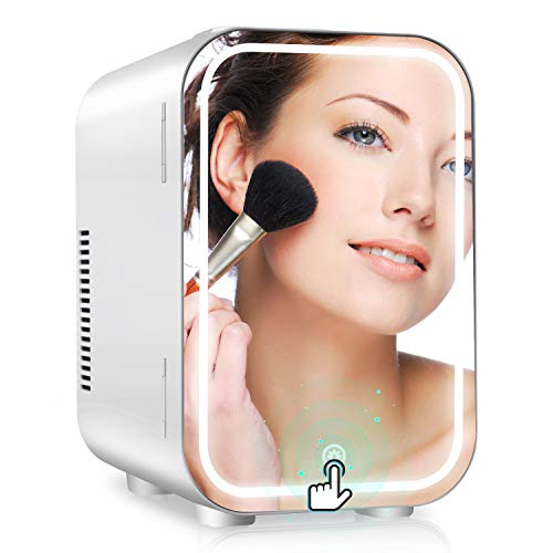 Mini Kühlschrank tragbar 8L, gespiegelter Schönheitskühlschrank mit LED-Beleuchtung Kleiner kosmetischer Kühlschrank für Schlafzimmer, ideal für Hautpflege und Make-up, für Büro, Schlafsaal(12V/230V)