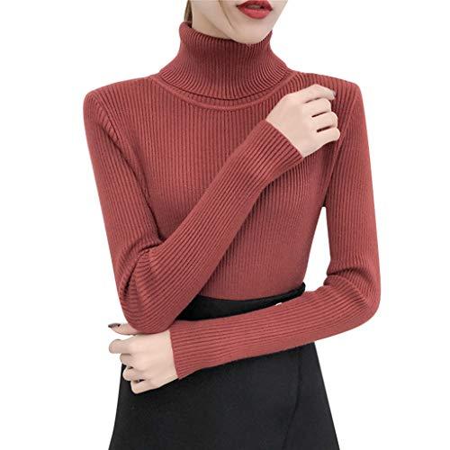 Bravetoshop Winter Sweater, Fashion Women Turtleneck Long Sleeve Pullover Knitting Basic Tops(Wine,Free Size)