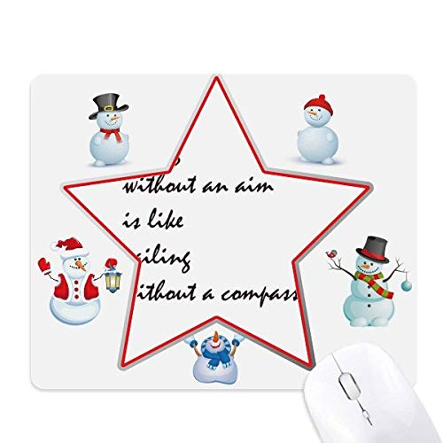 Quote People Must Live with an Aim mas Snowman Family Star - Alfombrilla para ratón