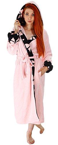 Simplicity Women's Plush Hooded Bathrobe Kimono Robe with Hoodie, Pink