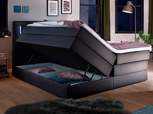 Wonello Boxspringbett 180x200 mit Bettkasten und LED Beleuchtung - gemütliches Bett mit led Beleuchtung - Stauraumbett 180 x 200 cm schwarz mit Matratze und Topper
