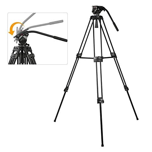 FOLOSAFENAR Miliboo MTT601A treppiede Professionale panoramica a 360 Gradi, stabilità Super Leggera e affidabile con Testa a Sfera idraulica per videocamera DSLR Canon/Nikon/Sony