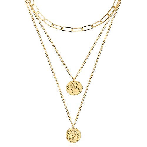FAMARINE Layered Pendant Necklace Set, 3 Layers Gold Chain Pendant Layering Necklace for Women Girls Birthday, Gold