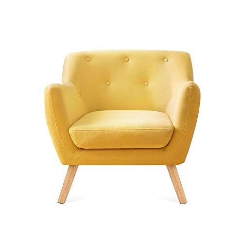 IDMarket - Fauteuil scandinave en tissu jaune moutarde