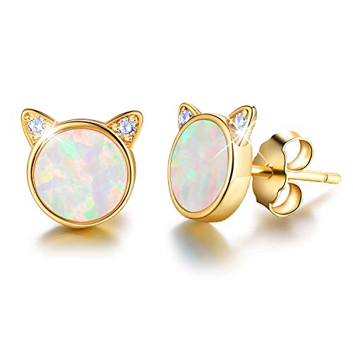 Gift for Christmas Esberry 18K Gold Plating 925 Sterling Silver Opal Cat Stud Earrings Cute Cat with Natural Stone Hypoallergenic Earrings for Women and Girls (Yellow Gold-White Opal)