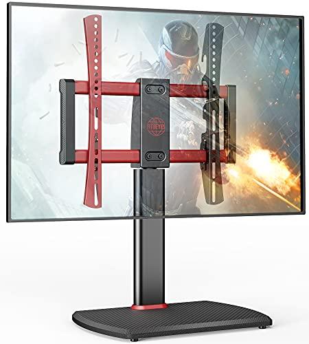 Soporte giratorio universal para TV de 32 a 60 pulgadas, soporte de pedestal ajustable con base de vidrio templado para hasta 50 kg máx. Vesa 400 x 400 mm