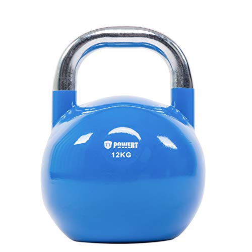 POWERT Competition Kettlebell|Premium Quality Coated Steel|Ergonomic Design|Great for Weight Lifting Workout & Core Strength Training& Muscle Building|Color Coded (D-12KG)
