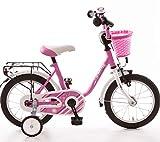 Bachtenkirch 14 Zoll Kinderfahrrad Pink ab 3 Jahre Fahrrad für Mädchen Fahrräder Kinderrad Mädchenfahrrad Rad Rücktrittbremse abnehmbare Stützräder Korb