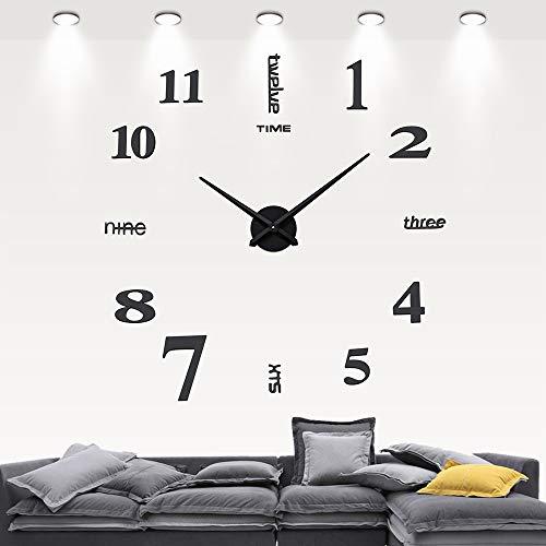 GUFAN Modern Mute DIY Large Wall Clock 3D Sticker Home Office Decor Black Gift
