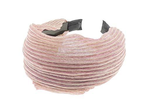 Dames metallic draad gewatteerd 8 cm brede hoofdband Alice Band Eén maat roze