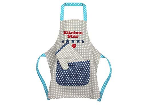 Emily´s Check Kochmütze oder Küchenset für Kinder 468.549, Küchenschürze & Topfhandschuh 3-6 Jahre, Kitchen Star