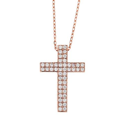 Echt goud dames zirkonia kruis met ketting sieradenset roségoud hanger gouden hanger set 2119