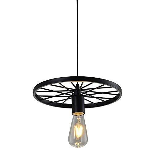 Splink Vintage Pendelleuchte Hängelampe Industrie Deckenlampe/Deckenleuchte, E 27 Fassung Fabrik Messing Lampenschirm (shwarz)
