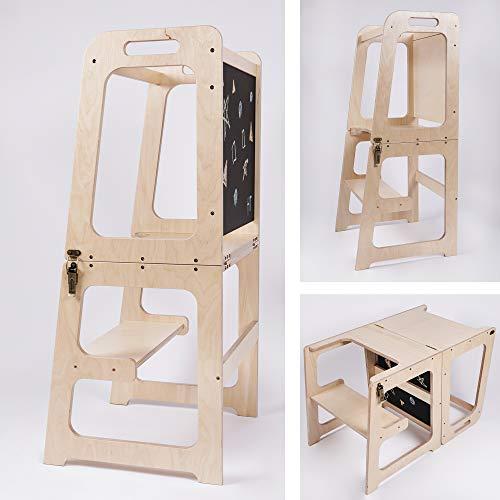 Montessori Helper Tower - Mesa y silla, torre con pizarra, taburete de cocina, torre de ayudante convertible, torre feliz original