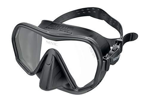 SEAC Máscara de Buceo Unisex Ajna sin Marco con Amplia Vista, Falda 100% Silicona, Color Negro, Talla única