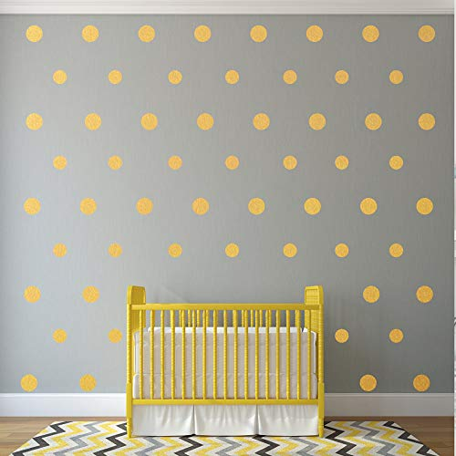 - Safe on Walls /& Paint Easy Peel Round Circle Art Glitter Stickers Large Paper Sheet Baby Nursery Room Set 300 Decals 1 Inch Stick Gold Wall Decal Dots Metallic Vinyl Polka Dot Decor