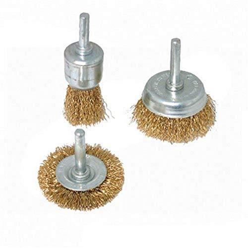 Silverline 985332 - Cepillos y brochas de acero latonado, 3 pzas (3 pzas)