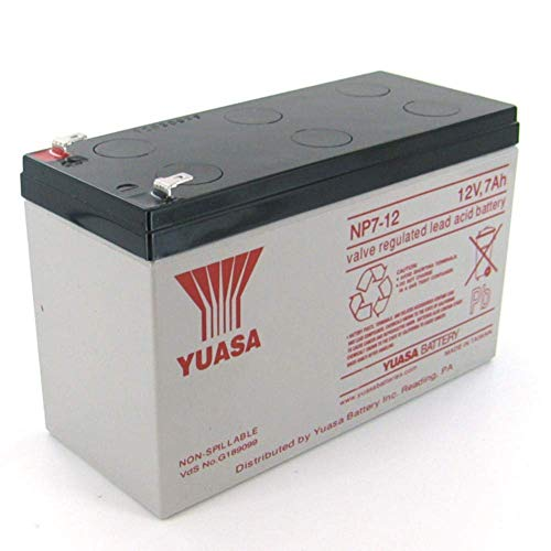 Yuasa NP7-12 12V/7Ah Sealed Lead Acid Battery with F1 Terminal
