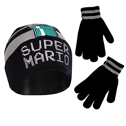 Nintendo Boy Winter Hat Set, Super Mario Kids Beanie and Gloves for Age 4-7, Black/Grey Design