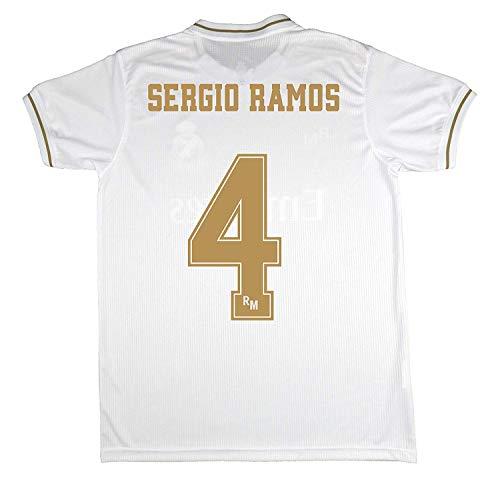 Real Madrid Camiseta Primera Equipación Talla Adulto Sergio Ramos Producto Oficial Licenciado Temporada 2019-2020 Color Blanco (Blanco, Talla S)