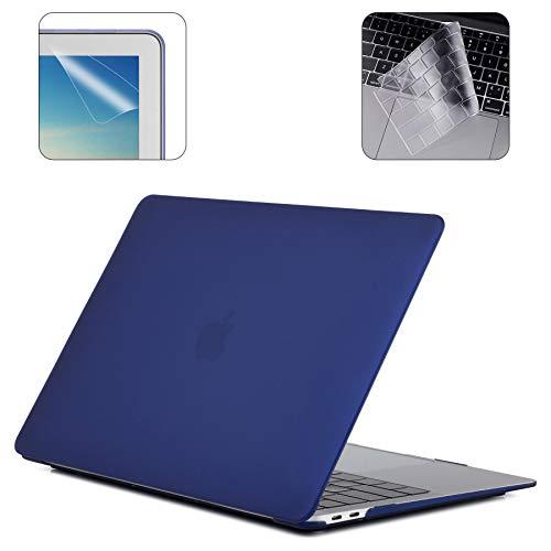 Preisvergleich Produktbild i-Buy Gummierte Harte Schutzhülle Hülle Kompatibel für 2019 2018 MacBook Air 13 Zoll mit Retina Display & Touch ID (Modell A1932) + TPU Tastaturschutz + Schutzfolie - Navy Blau
