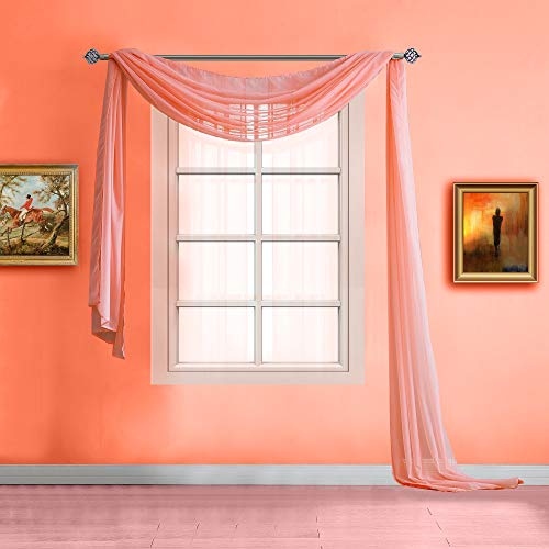 Warm Home Designs Extra Long Pink Orange (Coral) Sheer Window Scarf. Valance Scarves are 56 X 216 Inches in Size. Great As Window Treatments, Bed Canopy Or for Decorative Project. AM Coral 216'