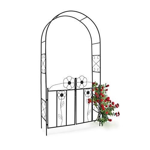 Relaxdays 10020031 Arco per Rose con Cancello in Ferro Rivestito a Polvere Struttura per Rampicanti HLP: 228 x 116 x 36,5 cm Nero