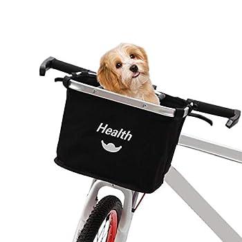 Panier de vélo détachable Noir, Porte-vélos pour Animaux de Compagnie, Chien Porte-vélos Avant Panier à provisions Pliant Sac de Transport avec poignée