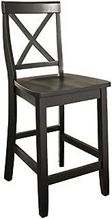 Crosley Furniture X-Back Bar Stool (Set of 2), 24-inch, Black