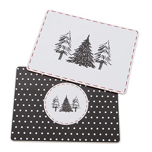 Boltze 4er Tischset Tidus Bäume Papier Korkeiche schwarz Weiß rot je 30x40cm Platzset Tischdeko